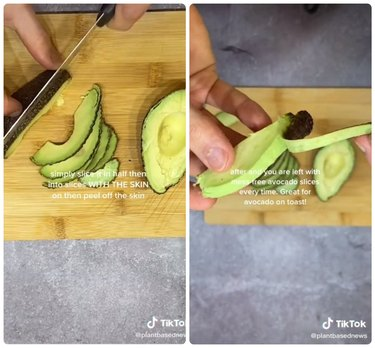 Slice it with the skin on, then peel