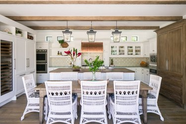 rustic kitchen woven dining chairs