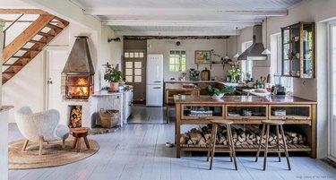 rustic kitchen wood burning stove
