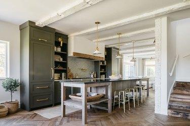 Rustic kitchen wood chevron flooring