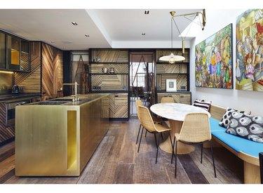 rustic kitchen brass kitchen island