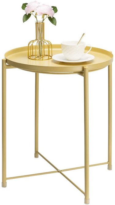 rust resistant metal outdoor side table with removable tray