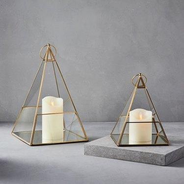 west elm pyramid tabletop lantern