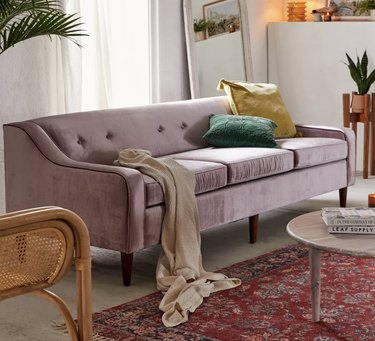 Urban Outfitters lavender velvet couch
