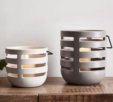 pottery barn ceramic tabletop lanterns