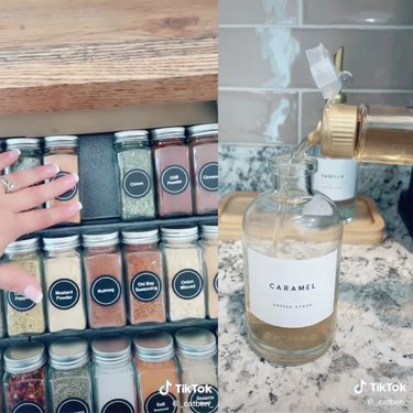 """two screenshots of a tiktok video, one showing a person's hand with a spice drawer and another showing a coffee syrup being poured into a bottle with a """"caramel"""" label"""