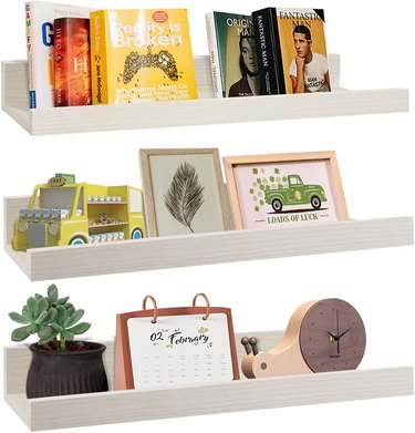 wall mounted floating shelves with ledge