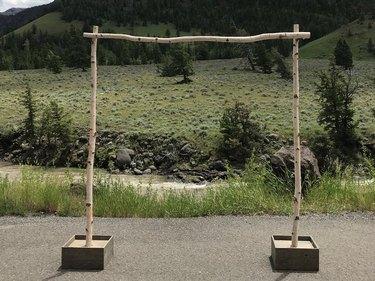 wedding arch with sticks