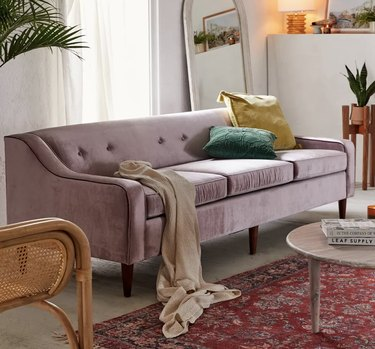 Lavender couch in living room