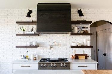 Farmhouse kitchen with white brick backsplash