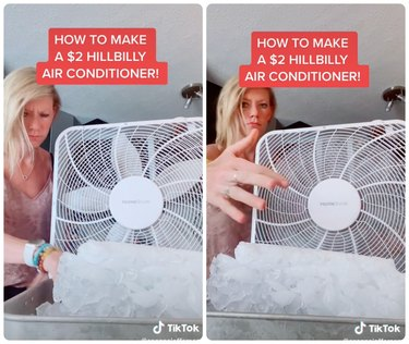 box fan blowing over ice