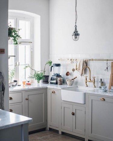 gray and white country kitchen