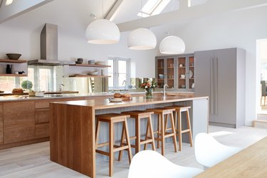 modern kitchen with integrated refrigerator