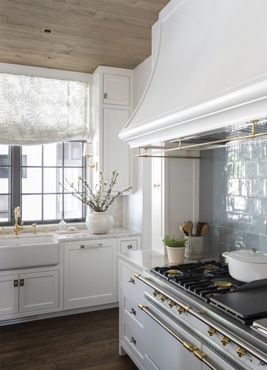 Blue kitchen backsplash in a farmhouse kitchen