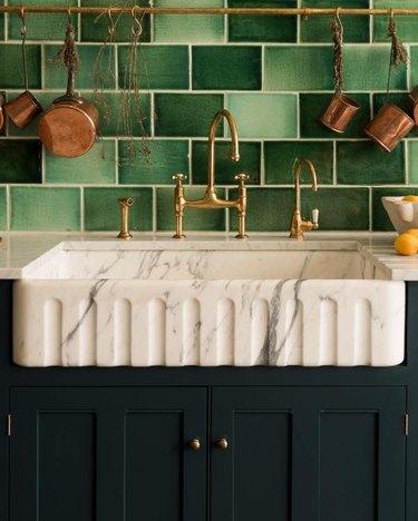 green backsplash in farmhouse kitchen