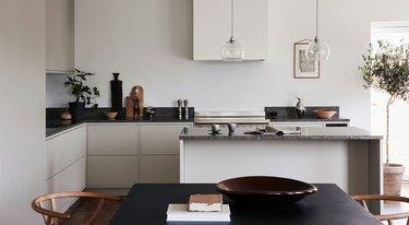 gray and white Scandinavian kitchen