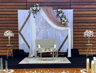 party seating area with hexagonal frame and decor