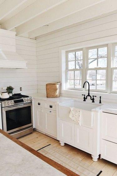 Farmhouse kitchen with white shiplap