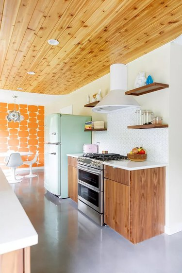 white retro kitchen with wooded ceiling