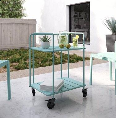 blue outdoor bar cart
