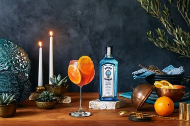 styled tablescape with Bombay Sapphire