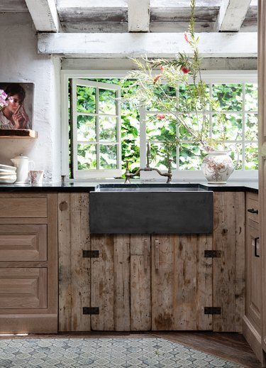 Leanne Ford kithen with distressed wood under the sink