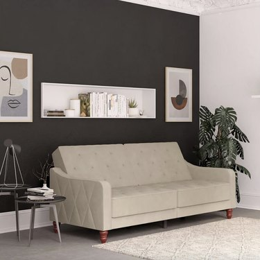 Tan futon in living room