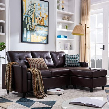 Brown faux leather sectional