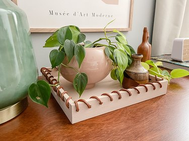 Transform a Wood Tray Into This Leather-Wrapped Beauty