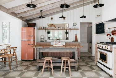 rustic kitchen with distressed island