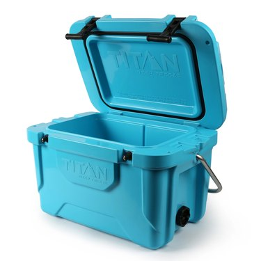 Bright blue open cooler with black accents