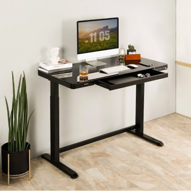 Comhar All-in-One Height Standing Glass Top Desk