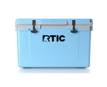 Blue cooler with light grey accents