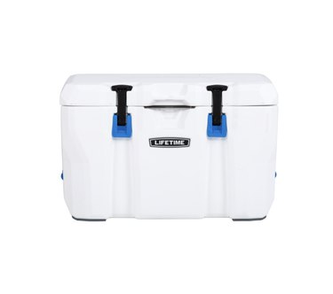 White cooler with blue and black buckles