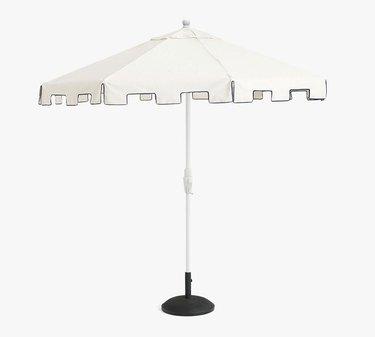 Capri 9' Umbrella with White Aluminum Pole Sunbrella Natural with Navy Piping