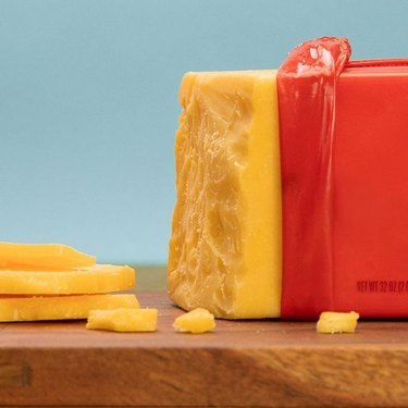 tillamook cheddar cheese block opened