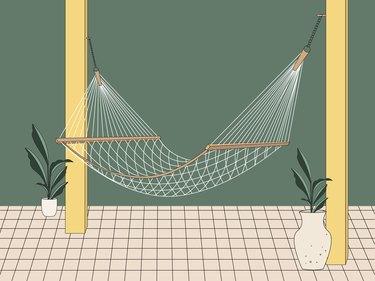 white cotton hammock illustration