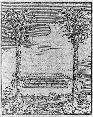 """A 1556 hammock illustration in Giovanni Battista Ramusio's """"Le Navigationi al Mondo Nuovo, III."""""""