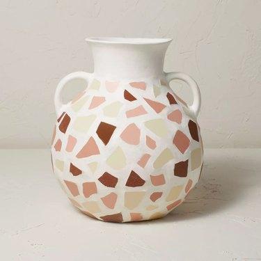 Round Mosaic Vase with Handles