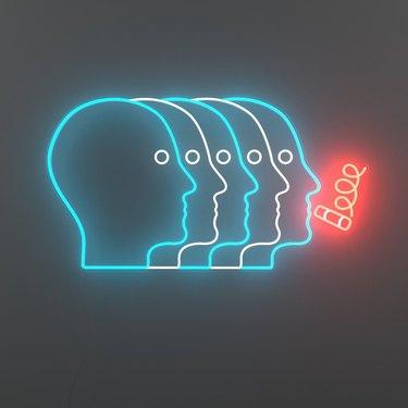 smoking heads neon light