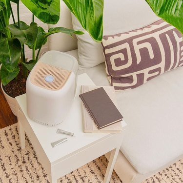 canopy humdifier on side table with journal