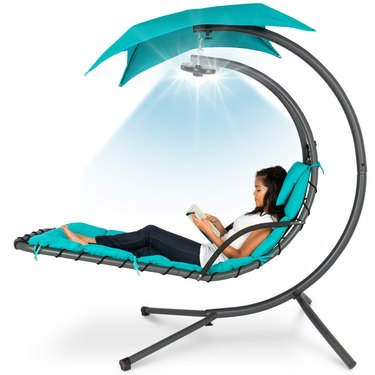 Best Choice Products Hanging LED-Lit Curved Chaise Lounge Chair