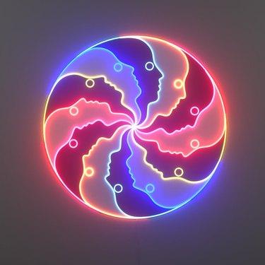 face circle neon light