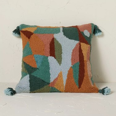 Abstract Punch Needle Square Throw Pillow Multi