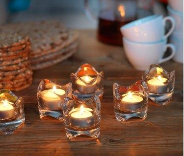 tealights in glass tealight holders
