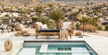 rattan daybed poolside