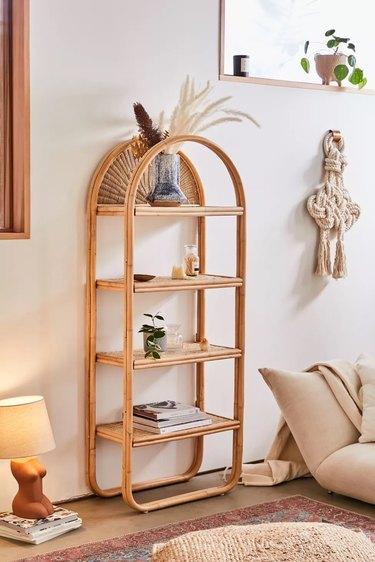 rounded rattan bookshelf
