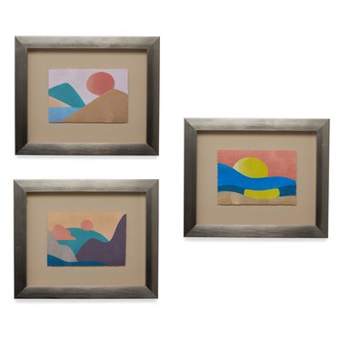 3 paintings of sunset