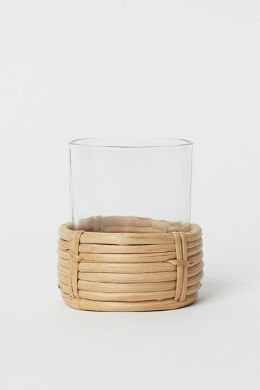 rattan and glass candle holder