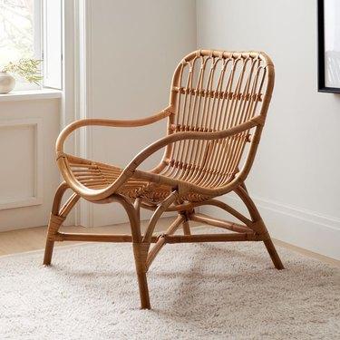 woven rattan armchair